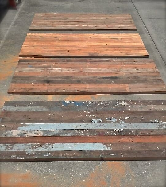 Sanding process - Reclaimed Wood Farm Table Project