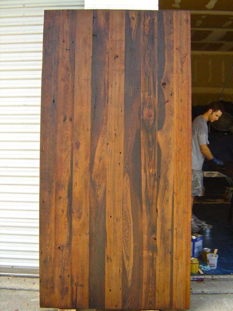 Stained and waiting - Reclaimed Wood Farm Table Project