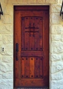 Though not arched the composition of this door is an excellent example of the Mission style
