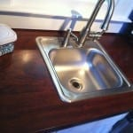 Brazilian Cherry counters and our stainless bar sink