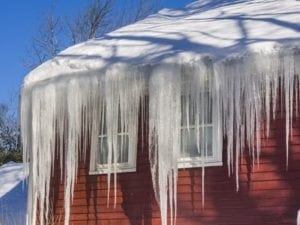 ice dam on old house